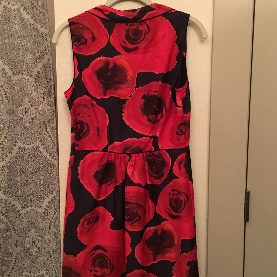 rachel roy black with huge red roses patterned throughout. Black Bedroom Furniture Sets. Home Design Ideas