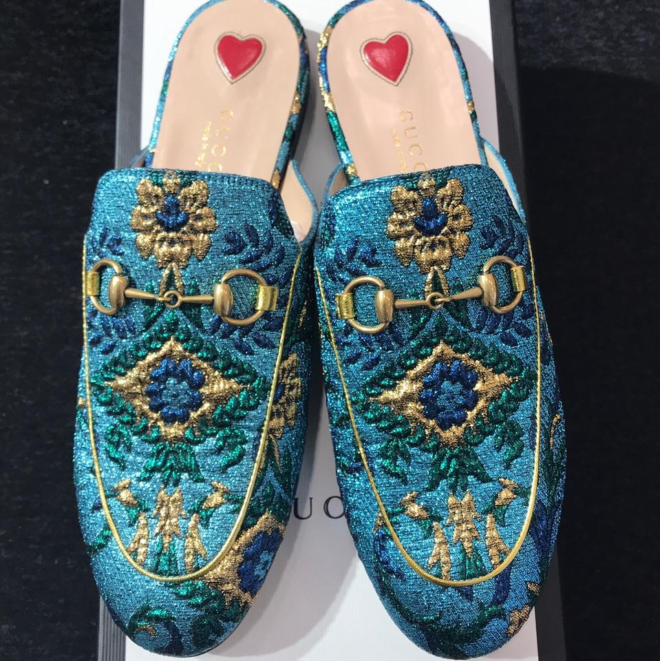21d31783170 Gucci Turquoise Blue Green Gold Princetown Jacquard Backless Loafers ...