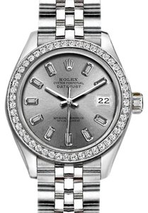 Rolex Rolex Ladies 26mm Datejust with Custom Bezel and Diamond Silver Dial