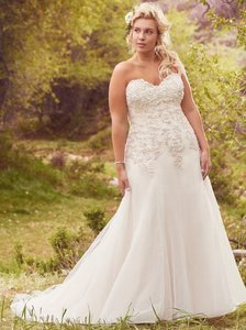 Maggie Sottero Ivory with Light Gold Tulle Ladonna Traditional Wedding Dress Size 22 (Plus 2x)