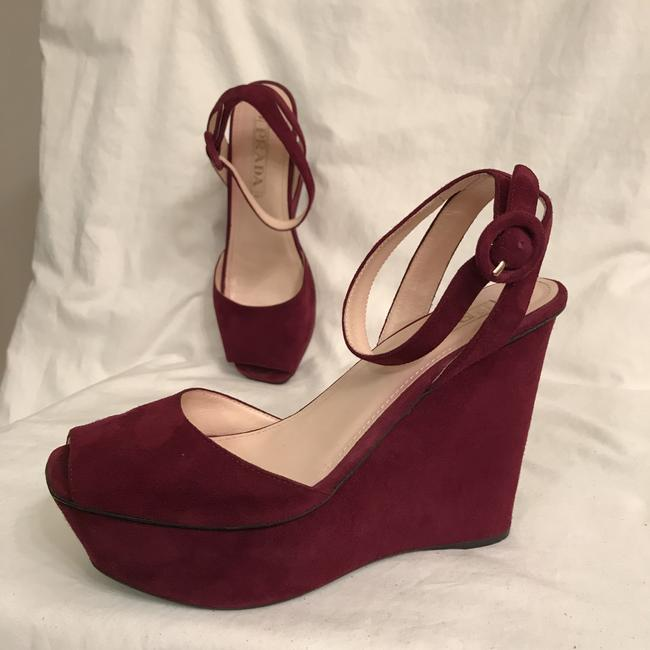 Item - Red Purple Suede Wedges Size EU 37 (Approx. US 7) Regular (M, B)