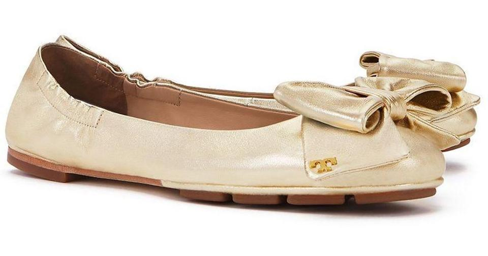 d79c4ed5ca1 Tory Burch Spark Gold Divine Bow Driver Ballet Flats. Size  US 7 ...