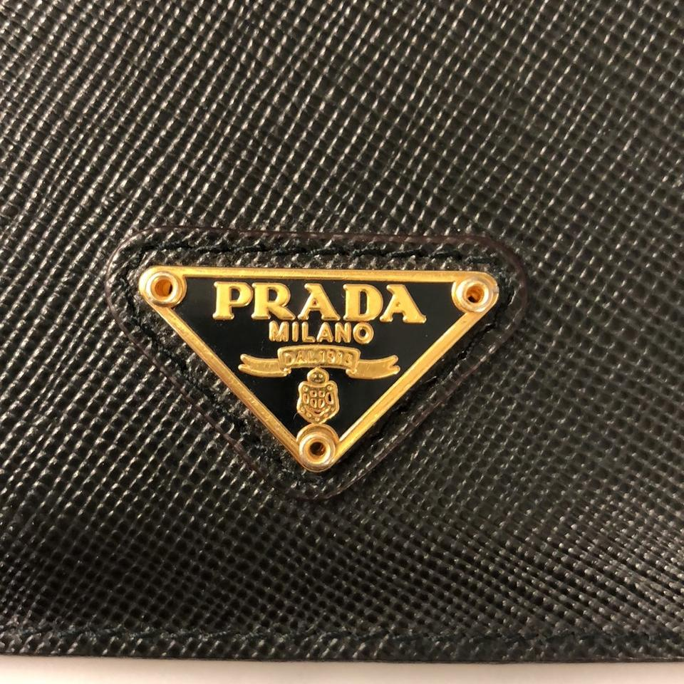 1914dabc95b0 Prada Black Saffiano Triangle Card Holder Wallet - Tradesy