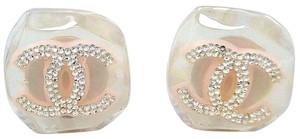 Chanel Authentic CHANEL CHIC Pink CC Logo clip on Earrings France