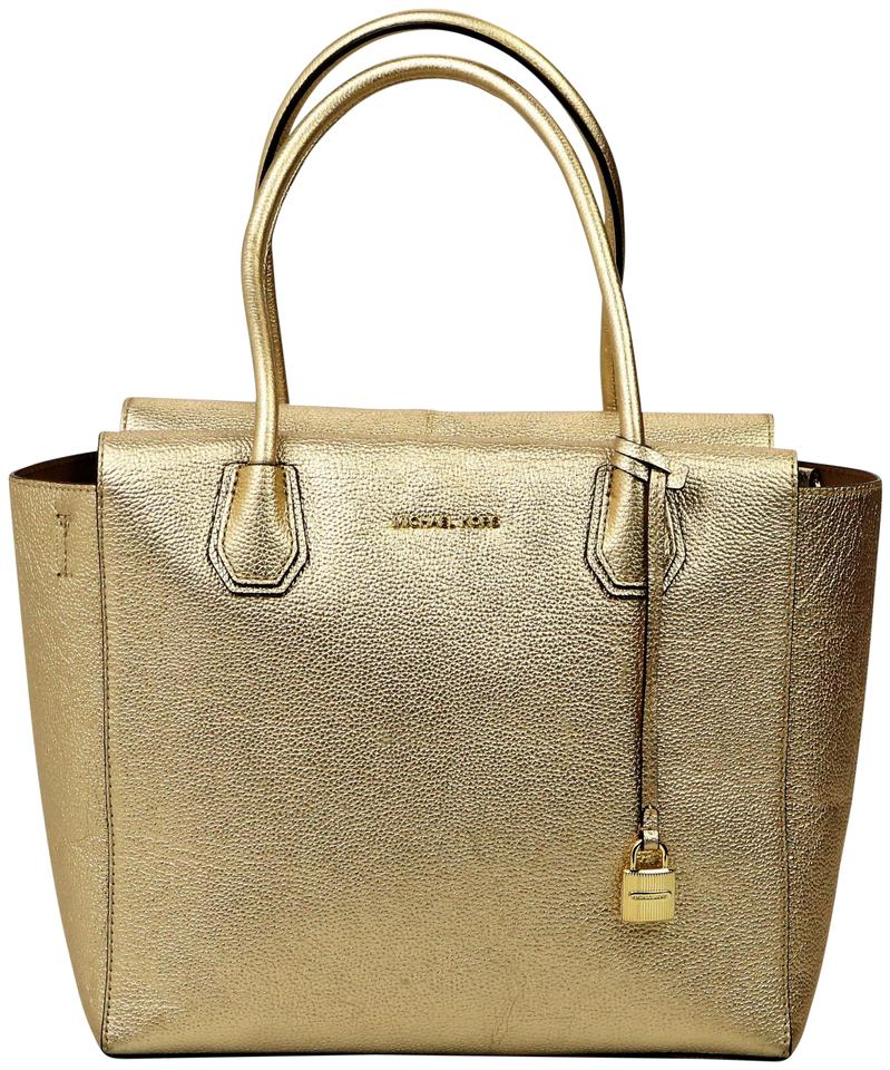 491b44bd5b4c Michael Kors Large Hardware Mk Lock Unlined Interior Pebbled Tote in  M307-27 Gold Image ...
