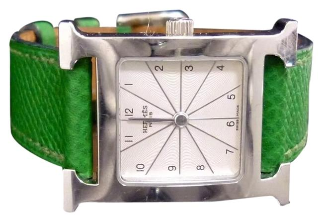 Item - Stainless Steel Green Leather Band White Face Silver & Ladies Wrist Watch