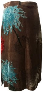 Paul Smith Velvet Holiday Flowers Skirt brown