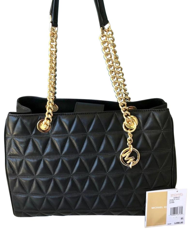 cadb3d750f34 Michael Kors Quilted Leather Chain Strap Tote in Black Image 0 ...