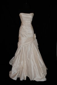 Melissa Sweet White Taffeta Mila Modern Wedding Dress Size 8 (M)