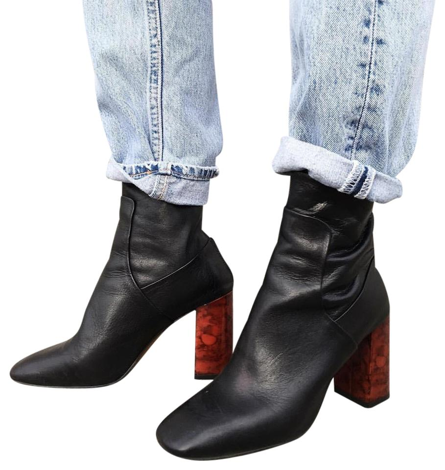 Topshop Black Leather Ankle Boots/Booties with Tortoise Shell Heels Boots/Booties Ankle e5fe0e