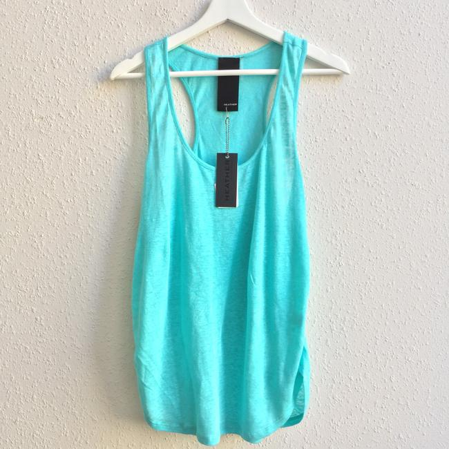 Item - Seaflower Aqua Blue Linen Shirred Scoopneck Tank Top/Cami Size 12 (L)