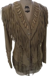 Diamond Leathers Fringed Suede Beaded Sexy Beige Leather Jacket