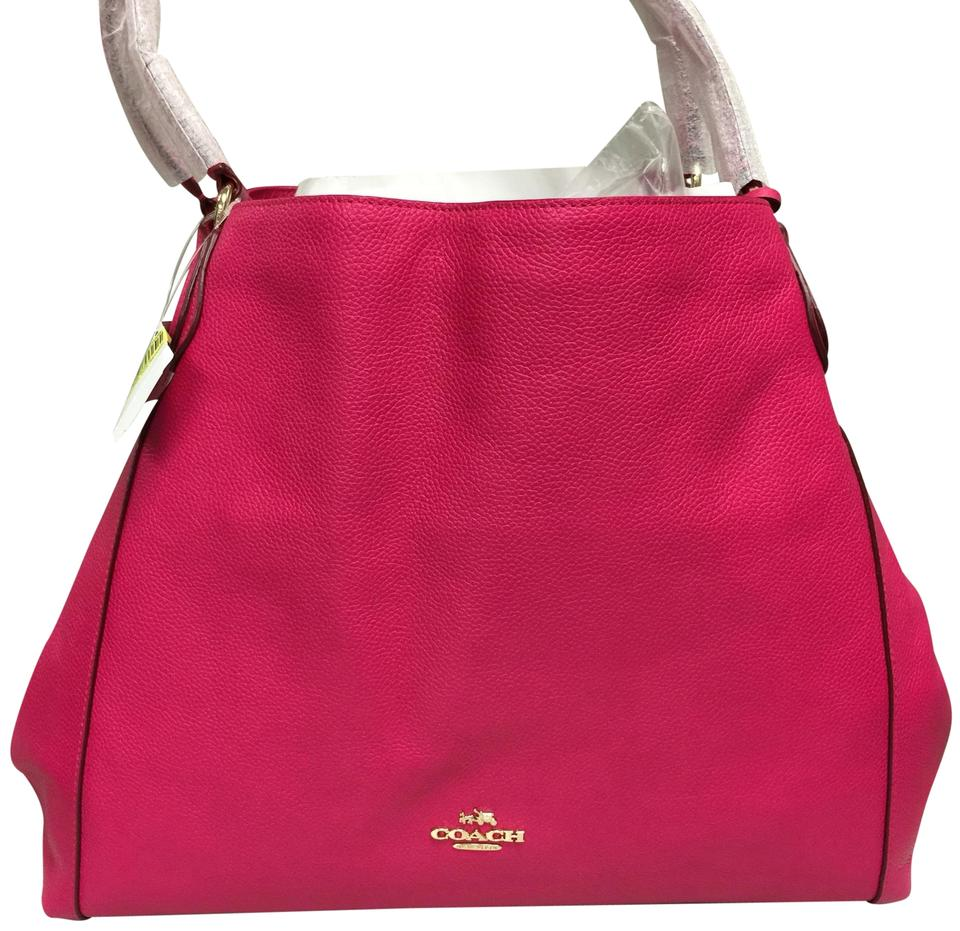 Coach Edie Ruby 33547 Pink Ruby Leather Shoulder Bag - Tradesy aefa3b32ac427