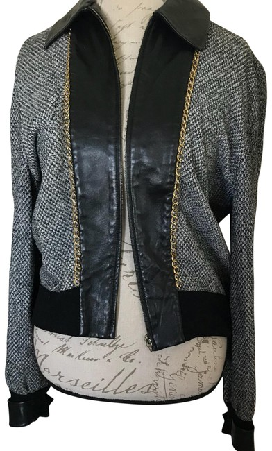 Item - Gray and Black Wool with Trim Jacket Size 12 (L)
