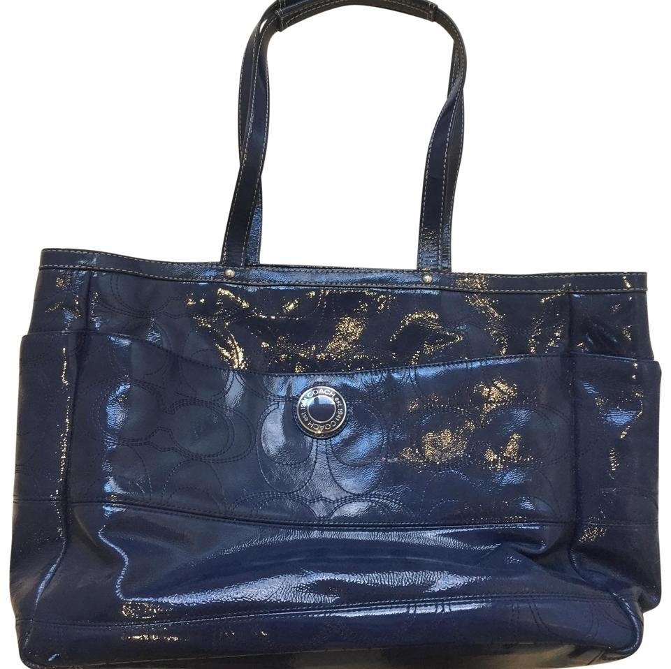 Coach Navy Blue Patent Leather Diaper Bag Tote Tote Tradesy