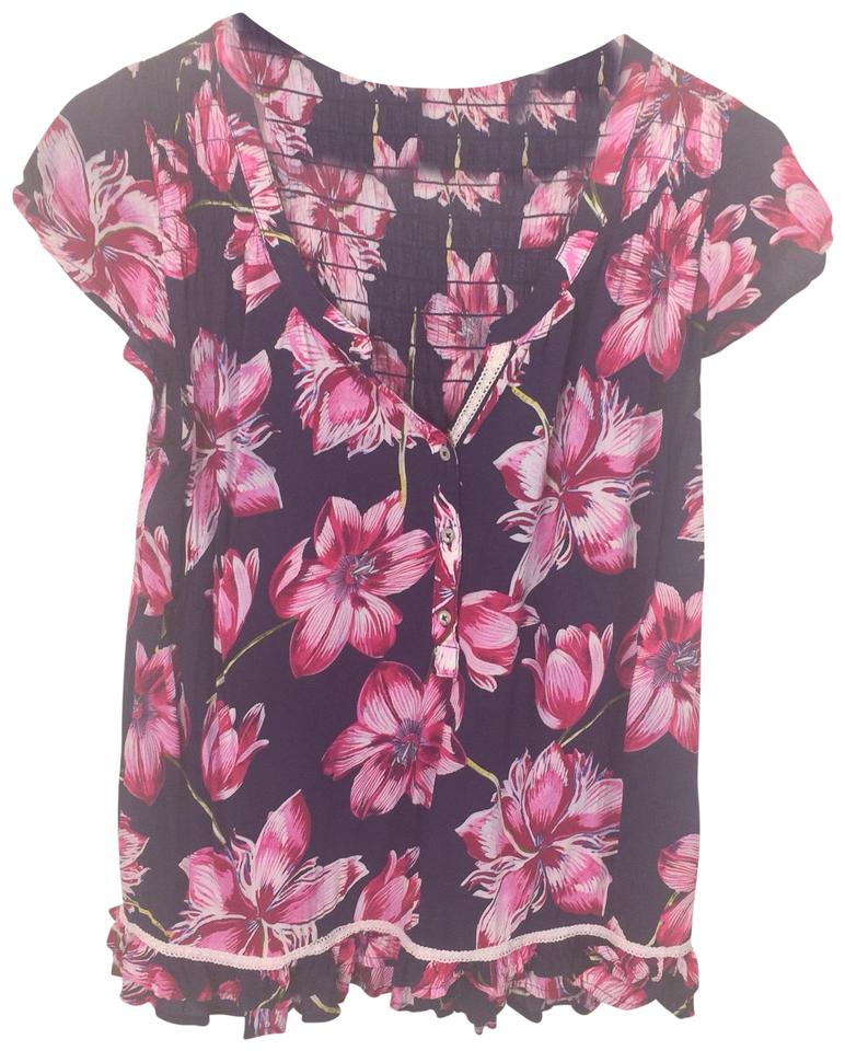 Anthropologie blue pink floral blouse size 6 s tradesy anthropologie top blue pink mightylinksfo