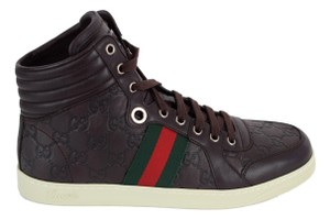 Gucci Brown 221825 Men's High Top Gg Guccissima Web Stripe Sneaker 7g/8us Shoes