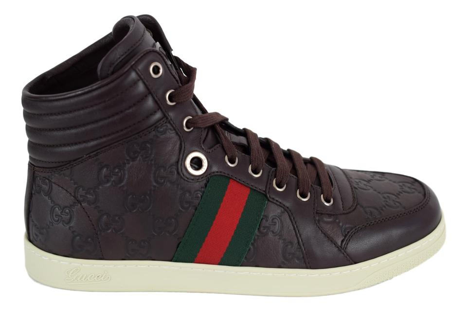 45a87a89622 Gucci Brown 221825 Men s High Top Gg Web Stripe Sneaker 12g 13us ...