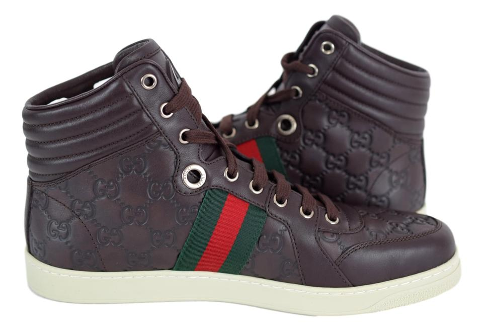f74cef734 Gucci Brown 221825 Men's High Top Gg Guccissima Web Stripe 12g/13us Sneakers  Size US 8 Regular (M, B) - Tradesy