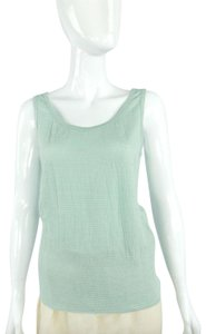 Armani Collezioni Mint Textured Sleeveless Tank Top Green