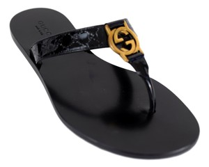 Gucci Gg Thong 344938 Black Sandals