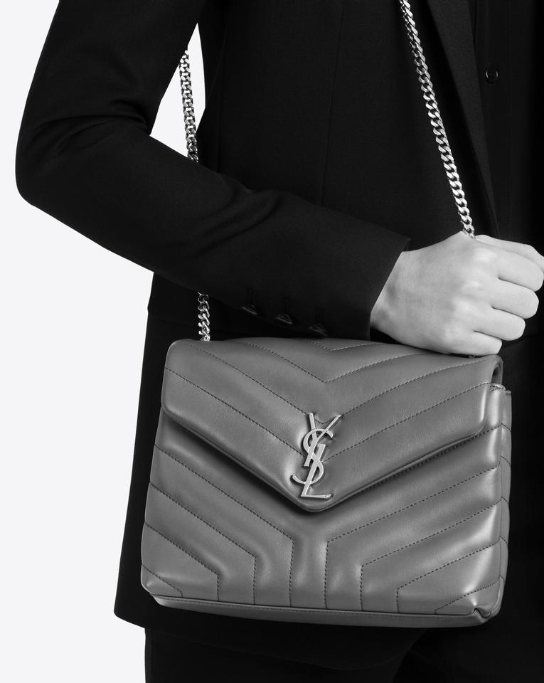 Saint Laurent Monogram Loulou Ysl Small Earth Grey Leather