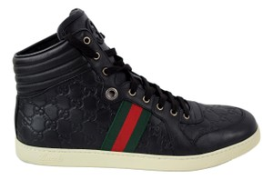 Gucci Black 221825 Men's High Top Gg Guccissima Web Stripe Sneaker 13g/14us Shoes