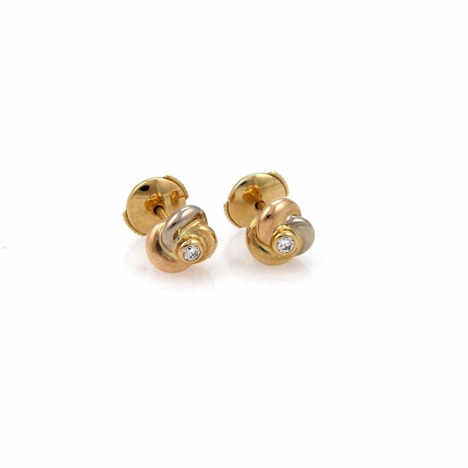 Cartier 21419 Trinity Diamond 18k Gold Love Knot Stud Earrings W Cert