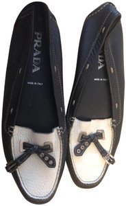 Prada Leather NAVY/white Flats
