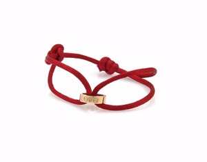 Cartier 21639 - Love Charity 18k Yellow Gold Ring Charm Red Cord Bracelet Cert
