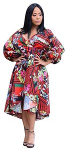 Caribbean Queen short dress Red Floral on Tradesy