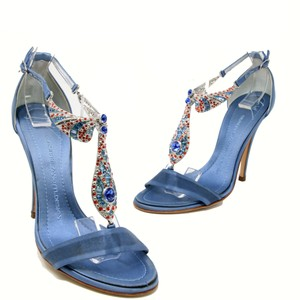 Giuseppe Zanotti Embellished Embroidered Formal Date Night Blue Pumps