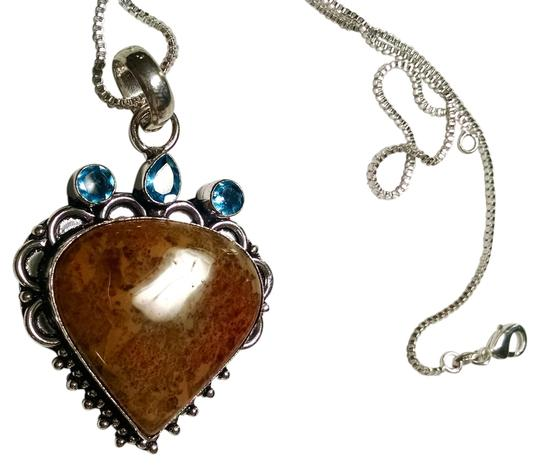 Preload https://item4.tradesy.com/images/blue-brown-silver-new-jasper-and-topaz-gemstone-pendant-925-chain-18-inch-j793-necklace-2252468-0-0.jpg?width=440&height=440