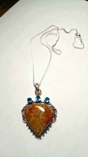 Other New Jasper & Blue Topaz Gemstone Pendant Necklace 925 Silver Chain 18 Inch J793