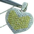 Ali1 White & Yellow Canary Diamond Puffed Heart 14k W Gold Pendant Necklace