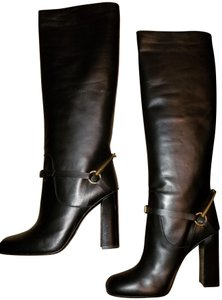 Gucci Women's Knee Chunky Winter Black Leather Boots
