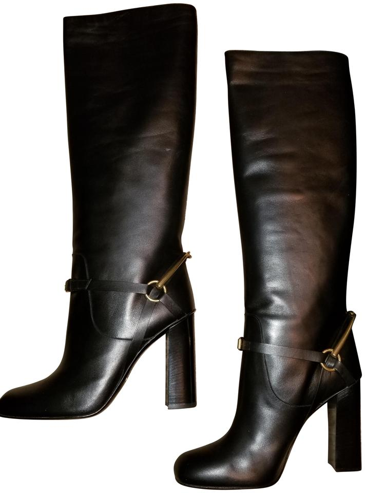 fccd2652bfd Gucci Black Leather Horsebit Knee High Lifford It 42  12 353793 Boots  Booties