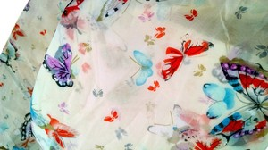 New Scarf Floral Long Butterflies Summer Beige Blue Purple P1333