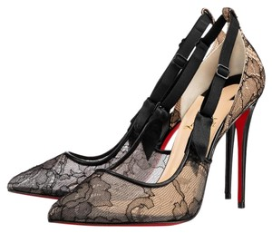 Christian Louboutin Hot Jeanbi 100 Lace Red Sole 100 Black Pumps