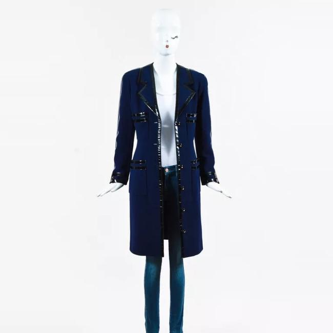Item - Navy Blue And Black Patent Leather with Cc Logo Buttons Coat Size 6 (S)