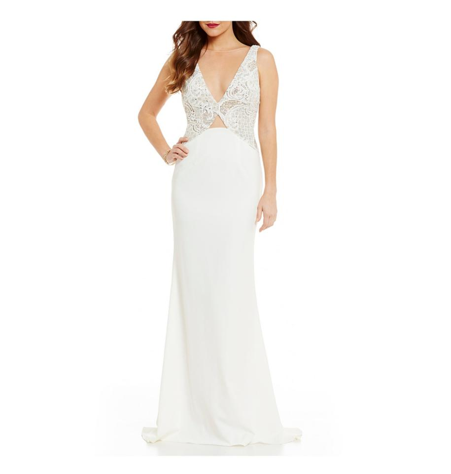 Terani Couture White Polyester Plunging Deep V Peek A Boo Gown ...