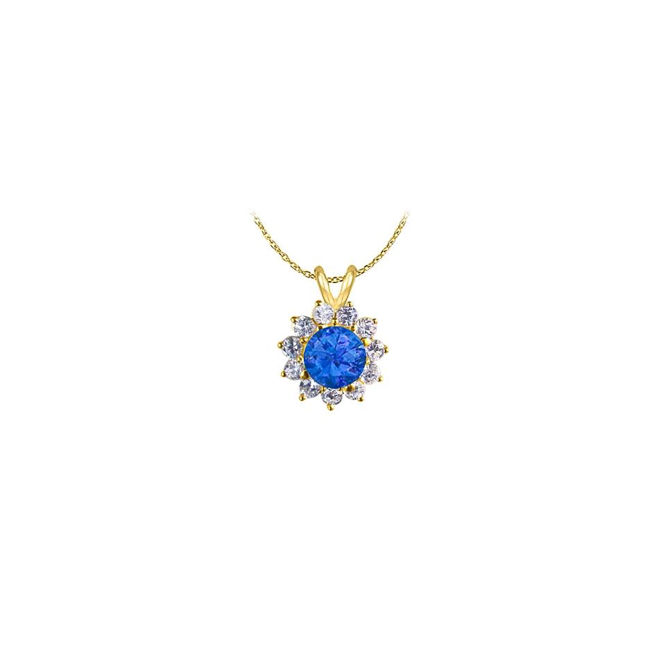 vermeil i flower and yellow gold retail sapphire zirconia necklace off pendant amazing blue cubic