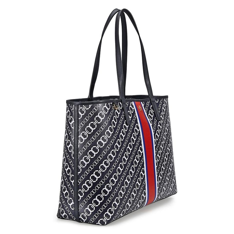 Tory burch canvas totes up to 70 off at tradesy tory burch large travel laptop gemini link chain print tote in black buycottarizona Images