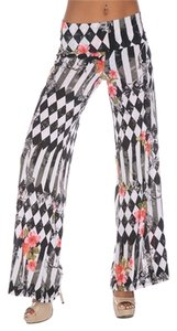 White Mark Wide Leg Pants Black White multi