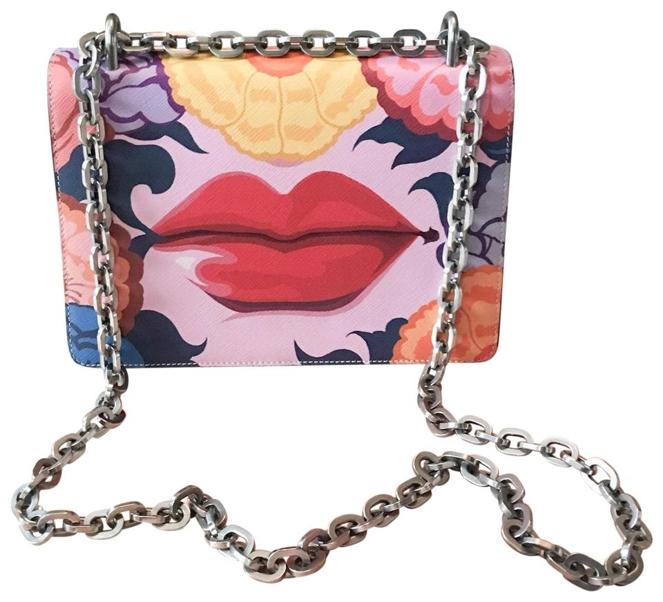 Prada Limited Edition Rosso Dis Lips Chain Rare Multicolor Saffiano ... 33687b63e2ea2