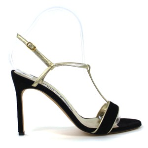 Manolo Blahnik Leather Suede Casual Sexy Black and Gold Pumps