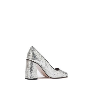 0d7522f8df7 RED Valentino Silver Metallic Glitter Block-heel Court Pumps Size US ...