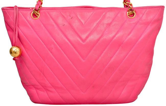 """Chanel 15.25"""" Inch Chevron Quilted with Gold Chains Pink Lambskin Leather Shoulder Bag Chanel 15.25"""" Inch Chevron Quilted with Gold Chains Pink Lambskin Leather Shoulder Bag Image 1"""