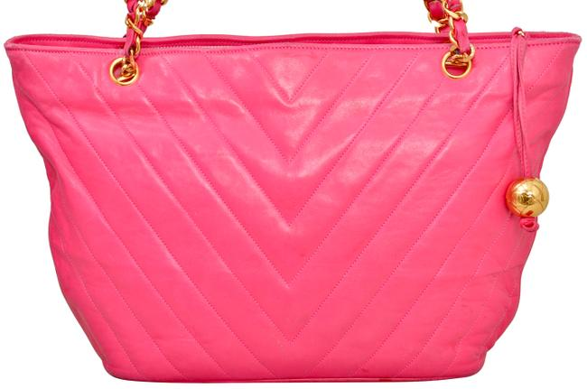 """Chanel 15.25"""" Inch Chevron Quilted with Gold Chains Pink Lambskin Leather Shoulder Bag Chanel 15.25"""" Inch Chevron Quilted with Gold Chains Pink Lambskin Leather Shoulder Bag Image 2"""