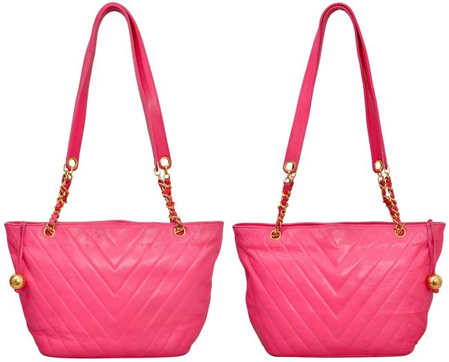 """Chanel 15.25"""" Inch Chevron Quilted with Gold Chains Pink Lambskin Leather Shoulder Bag Chanel 15.25"""" Inch Chevron Quilted with Gold Chains Pink Lambskin Leather Shoulder Bag Image 3"""